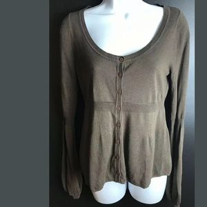 Anthro GUINEVERE Brown Cardigan Sweater Light Knit